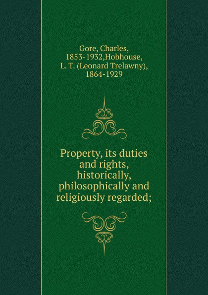 Property, its duties and rights, historically, philosophically and religiously regarded