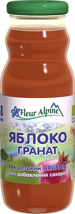 Флер Альпин Органик сок яблоко-гранат, 8 месяцев, с 8 шт по 200 г