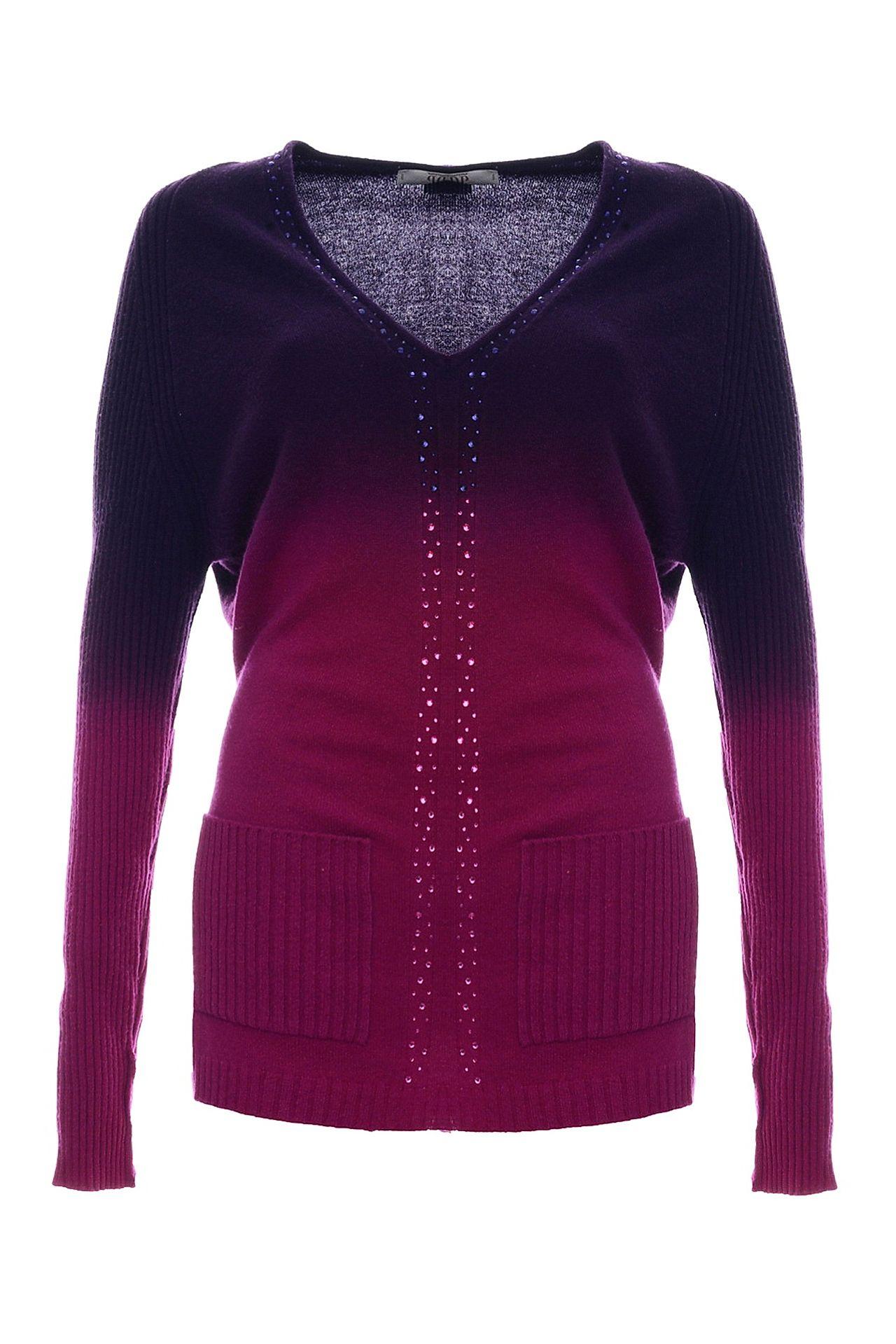 Джемпер VDP VIA DELLE PERLE пуловер кашемировый v образный вырез логотип freeman сзади