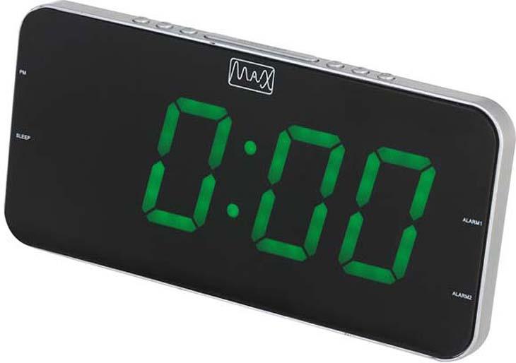 Радио будильник MAX CR-2909 часы с радиоприёмником max cr 2909 серебристый чёрный