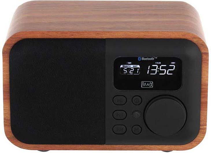 MAX MR-332 портативная акустическая система радиоприемник max mr 332 bluetooth fm радио mp3 wma с usb microsd li ion аккумулятор время работы более 8 часов цвет brown wood black