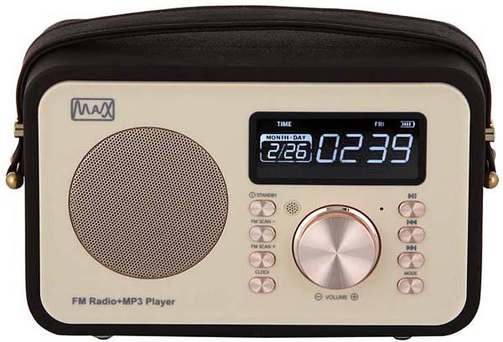 Радиоприемник MAX MR-350, Gold радиоприемник max mr 332 bluetooth fm радио mp3 wma с usb microsd li ion аккумулятор время работы более 8 часов цвет brown wood black