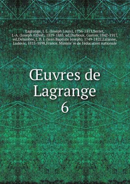 OEuvres de Lagrange. 6