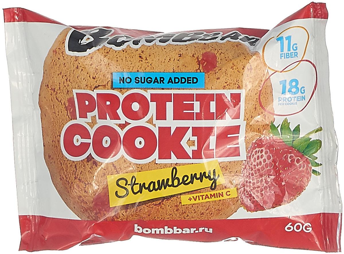Протеиновое печенье Bombbar, клубника, 60 г BOMBBAR