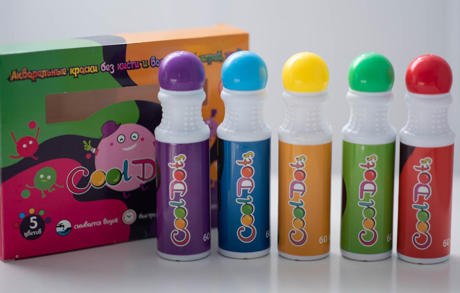 Набор для рисования Краски Cool Dots 5 цветов