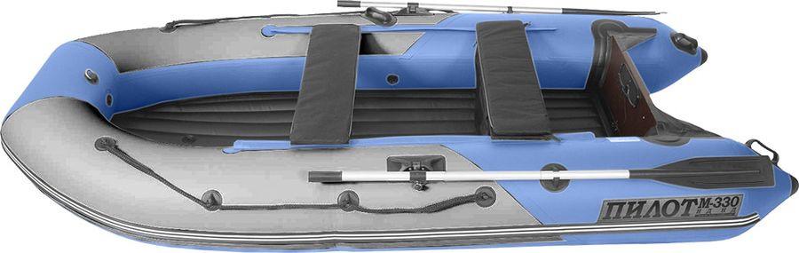 Лодка моторно-гребная Лоцман Пилот М-330 НД НД, ПМ-330 НД НД, надувная, серый, cиний