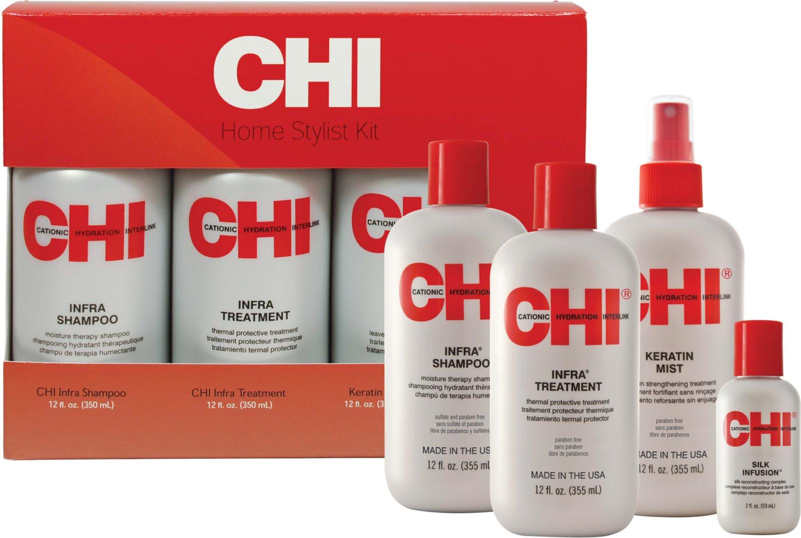 Косметический набор для волос CHI Шампунь Infra, 355 мл + Кондиционер Infra, 350 мл + Кондиционер Кератин Мист, 355 мл + Гель восстанавливающий, 59 мл chi шампунь термозащита iron guard 625 мл