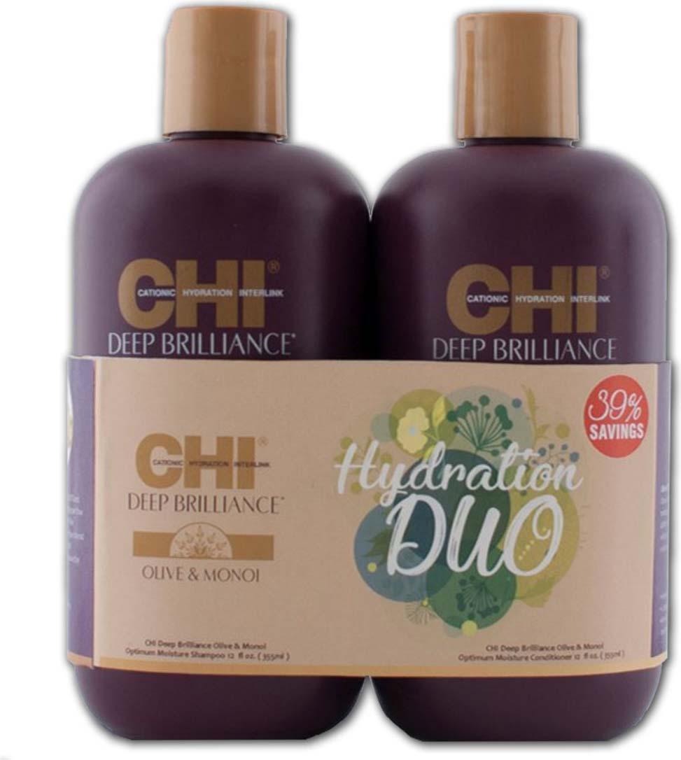 все цены на Косметический набор для волос CHI Deep Brilliance Hydration Duo Шампунь, 355 мл + Кондиционер, 355 мл онлайн