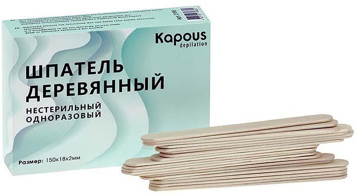 Шпатель для депиляции Kapous Professional Depilation, 150 х 18 х 2 мм, 100 шт silium полоски accessory strips in non fabric material for depilation для депиляции тела 50 шт смягчающий бальзам 10 мл влажная салфетка с масляной пропиткой