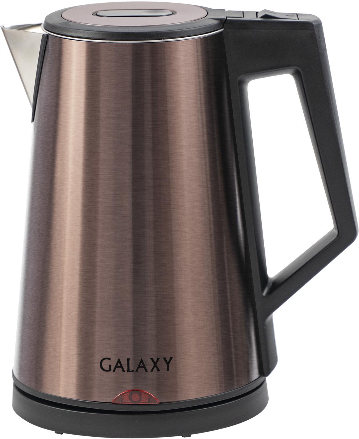 Электрический чайник Galaxy GL 0320559140Чайник электрический Galaxy GL 0320. Ключевые характеристики: Brand: Galaxy Тип: Чайник термос Мощность, Вт: 2000 Объем, л: 1,7 Материал: Нержавеющая сталь Количество температурных режимов: 1 Термоизолированный корпус: Да Вращение 360°: Да Отсек для хранения шнура: Да Частота сети, Гц: 50 Напряжение сети, В: 220 Вес нетто, кг: 1,22 Вес брутто, кг: 1,663 Габариты упаковки, см: 22,5 x 17 x 24,5 Гарантия, г: 1 EAN13: 4650067304953 Модель: Galaxy GL 0320 .ОПИСАНИЕ. Электрический трехстеночный чайник GALAXY GL0320 (бронзовый) Благодаря высокой мощности чайника в 2000 Вт, вы сможете быстро вскипятить воду. Тройные стенки из нержавеющей стали класса 18/10, пищевого пластика и нержавеющей стали класса 430 создают эффект термоса, сохраняя воду горячей долгое время. Чайник не нужно будет подогревать и вы сможете экономить на электроэнергии. Корпус данной модели выполнен в стильном дизайне и украсит интерьер вашей кухни. • Мощность 2000 Вт. • Объем 1,7 л. • Тройные стенки из нержавеющих сталей 18/10 и 430 и пищевого пластика. • Скрытый нагревательный элемент. • Автоотключение при закипании. • Автоотключение при отсутствии воды. • Индикатор работы • Указатель максимального уровня воды • Параметры питания, В/Гц:220-240/50
