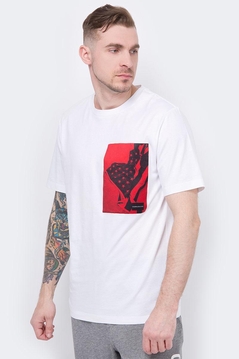 Футболка мужская Calvin Klein Jeans, цвет: белый. J30J310429_1120. Размер S (44/46)J30J310429_1120