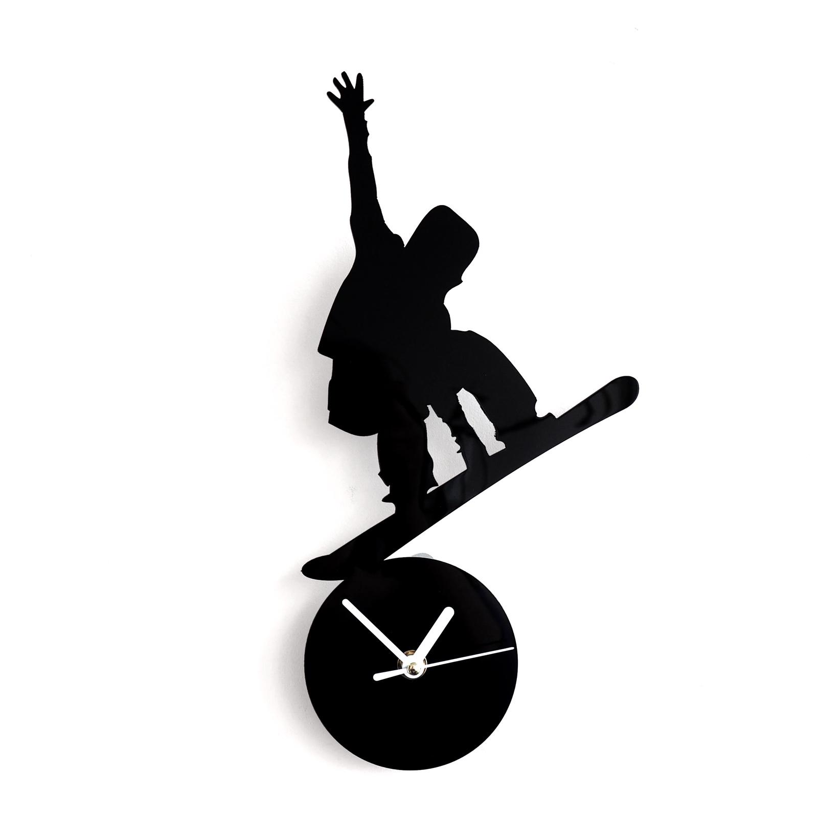 Настенные часы Roomton Сноуборд, черные, бесшумный механизм