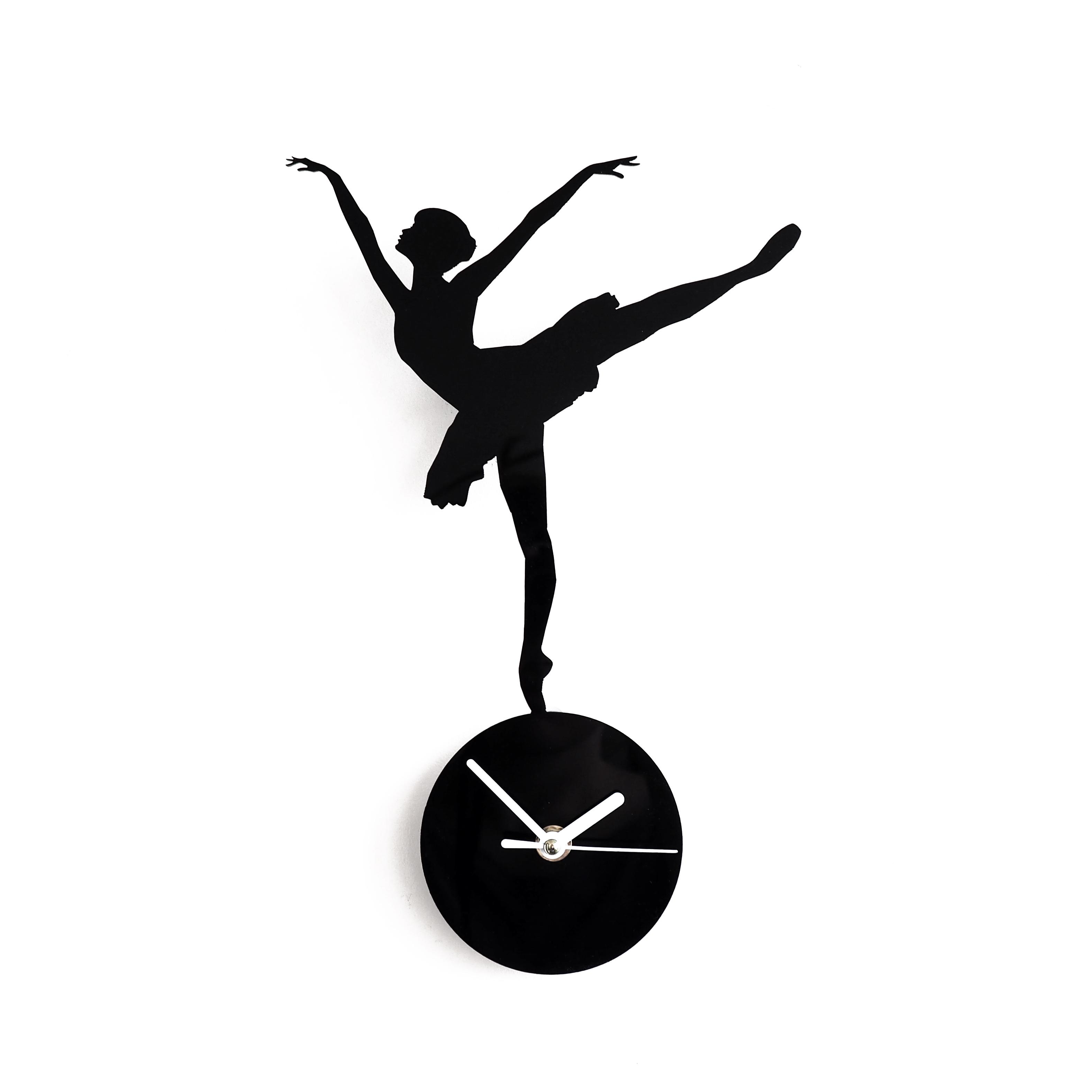 Настенные часы, Настенные часы Roomton, Roomton Балерина, черные, оргстекло, Балерина, черные, оргстекло