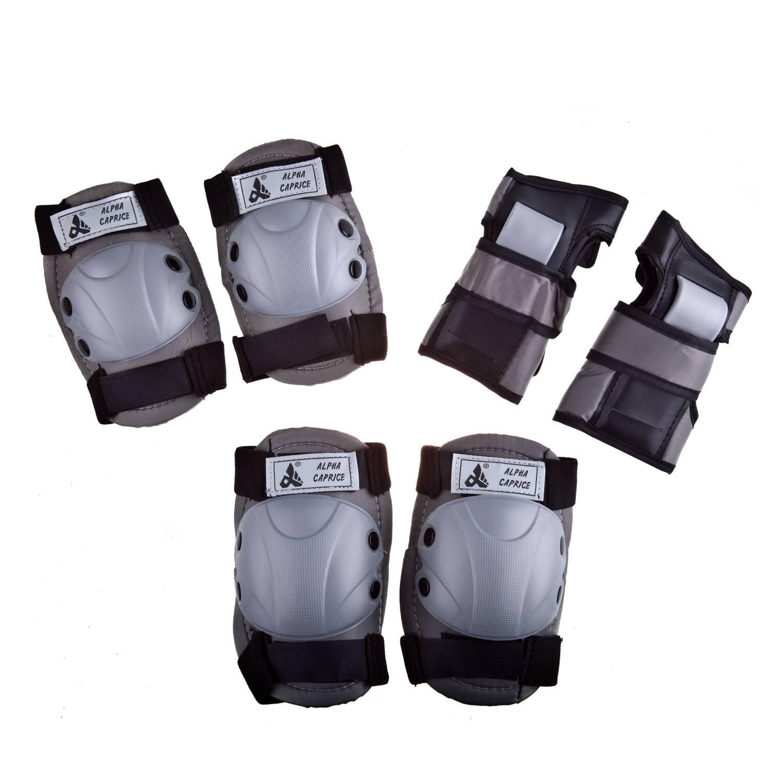 Комплект защиты Alpha Caprice 104B, серый104BGREY-02Наколенники и налокотники предохраняют от ударов колени и локти. Жесткая пластиковая чаша защищает сустав с наружи, а мягкая вставка придает комфорт изнутри. Защита запястий помогает защитить кисть от ударов, вывихов, ушибов и переломов рук роллера. Защита имеет застежки «Velcro». В комплект входит защита на: - на колени (2 шт.) - на локти (2 шт.) - на запястья (2 шт.). Корпус из АБС-пластика. Материал наполнителя: EVA