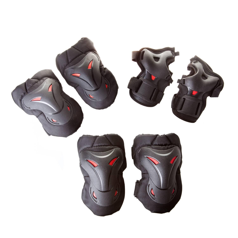 Комплект защиты Alpha Caprice H501B, черныйH501BBLACK-01Наколенники и налокотники предохраняют от ударов колени и локти. Жесткая пластиковая чаша защищает сустав с наружи, а мягкая вставка придает комфорт изнутри. Защита запястий помогает защитить кисть от ударов, вывихов, ушибов и переломов рук роллера. Защита имеет застежки «Velcro». В комплект входит защита на: - на колени (2 шт.) - на локти (2 шт.) - на запястья (2 шт.). Корпус из АБС-пластика. Материал наполнителя: EVA