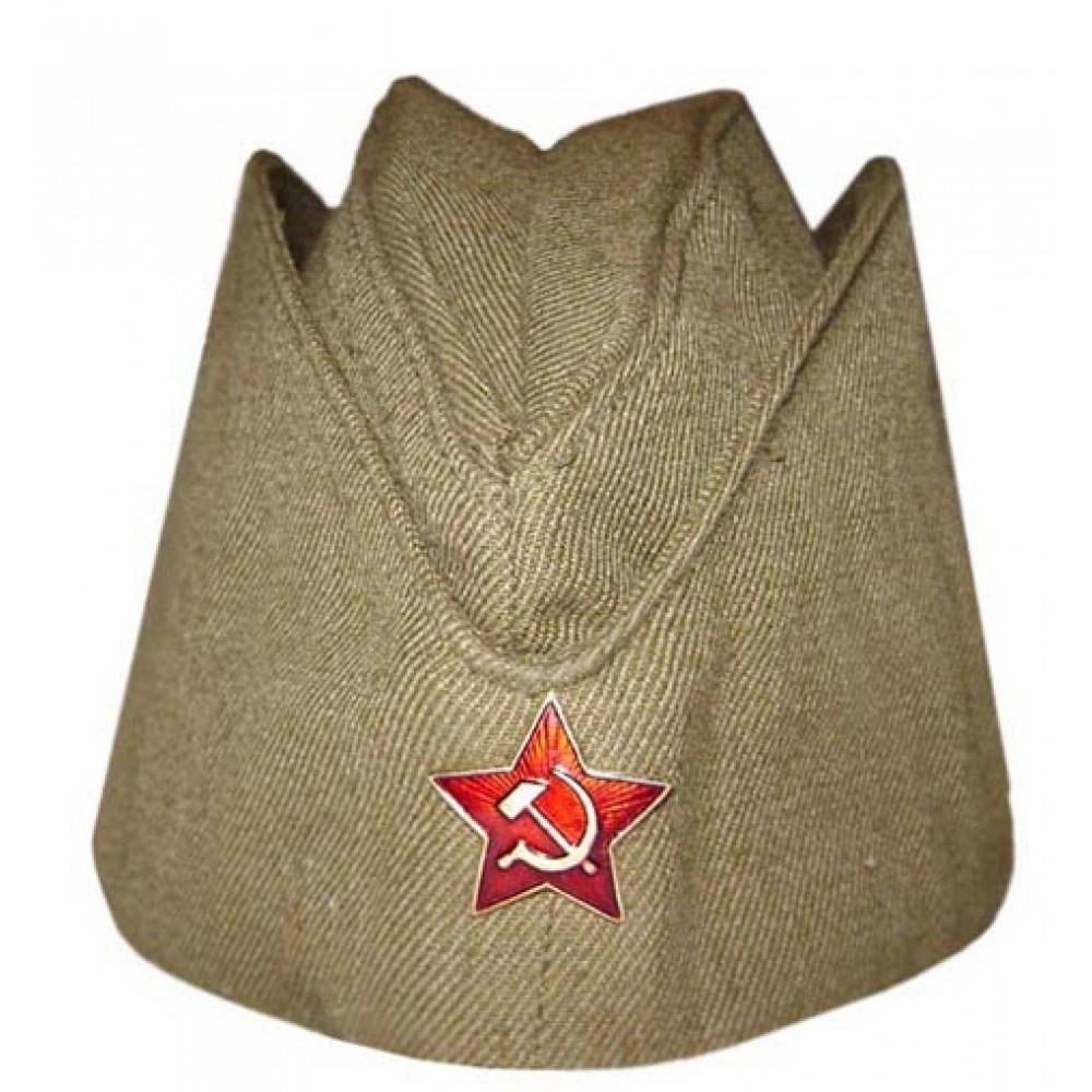 Шляпа карнавальная MARKETHOT военная пилотка со звездой+ георгиевская лента в подарок, Хлопок