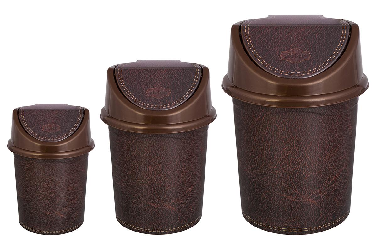 Мусорное ведро Violet Кожа, коричневый мусорное ведро violet элегант темный с подвижной крышкой 811452 коричневый бежевый