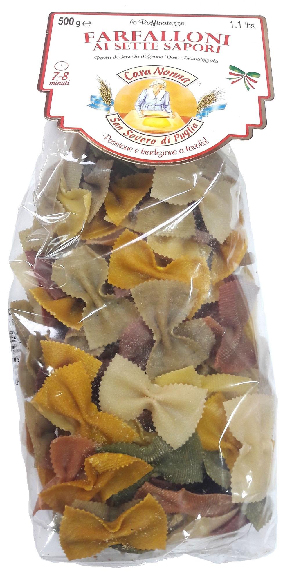 Макароны Паста CARA NONNA 7 цветов FARFALLONI (крупные бантики), 500