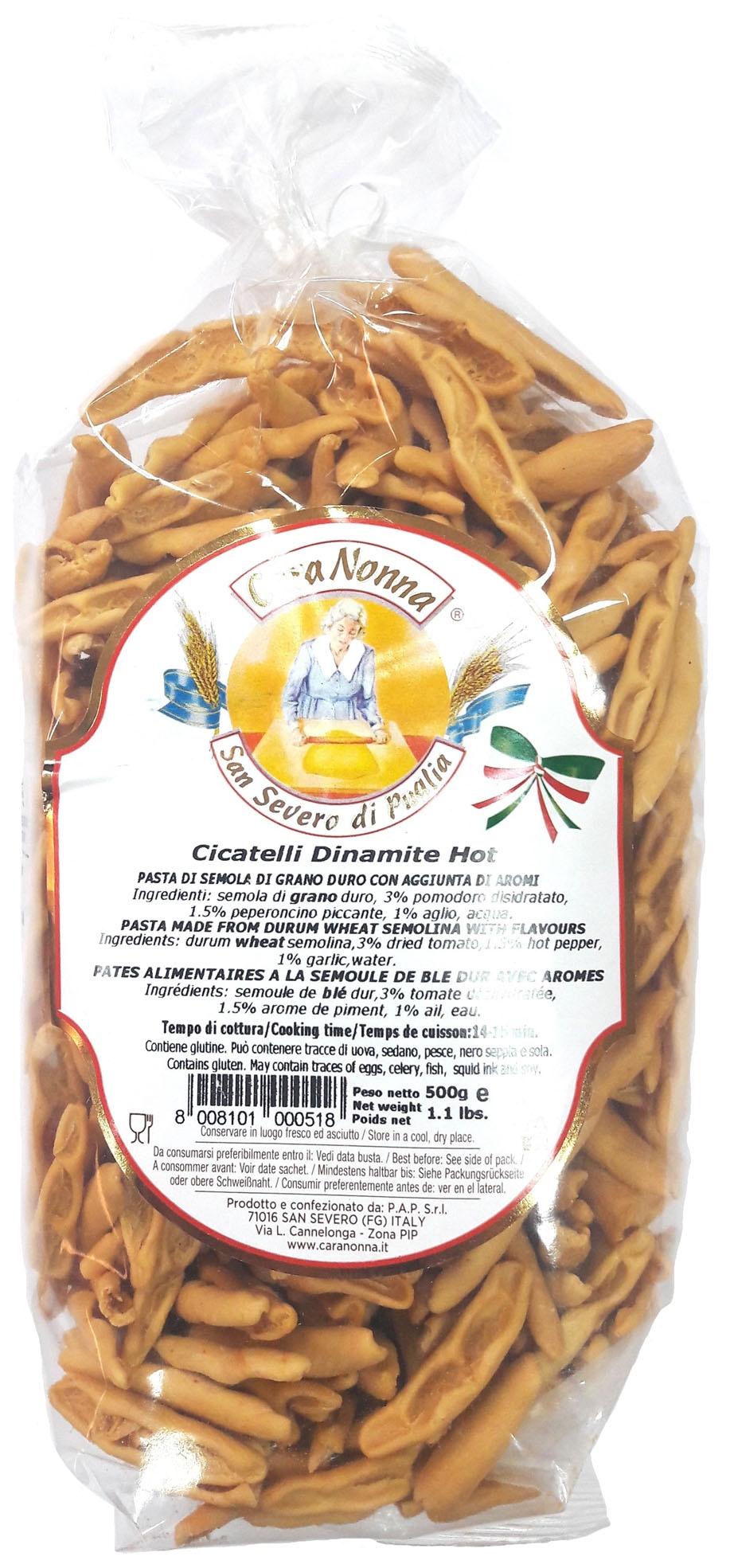 Макароны Паста CARA NONNA с острым перцем CICATELLI (Dinamit Hot), 500