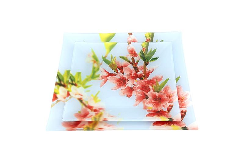 Набор 2 тарелок 25х25х1,5 см и 20х20х1,5 см Elan Gallery Яблоневый цвет на голубом