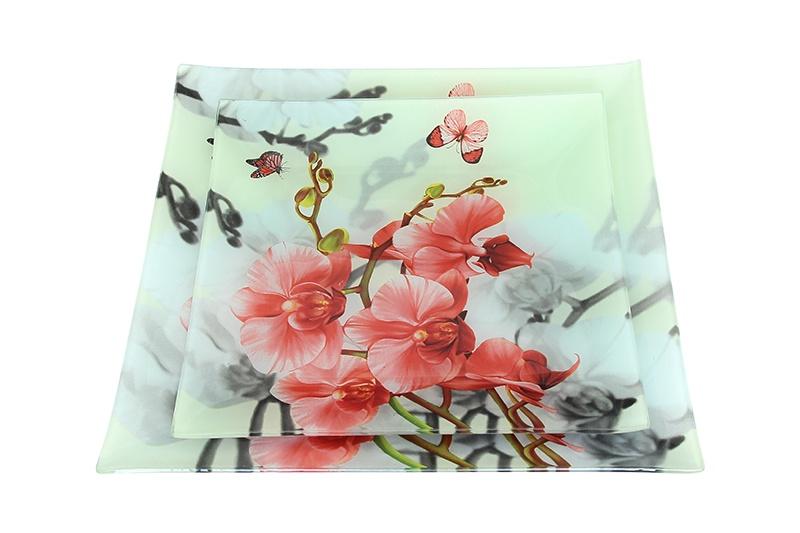 Набор 2 тарелок 25х25х1,5 см и 20х20х1,5 см Elan Gallery Цветочный сад