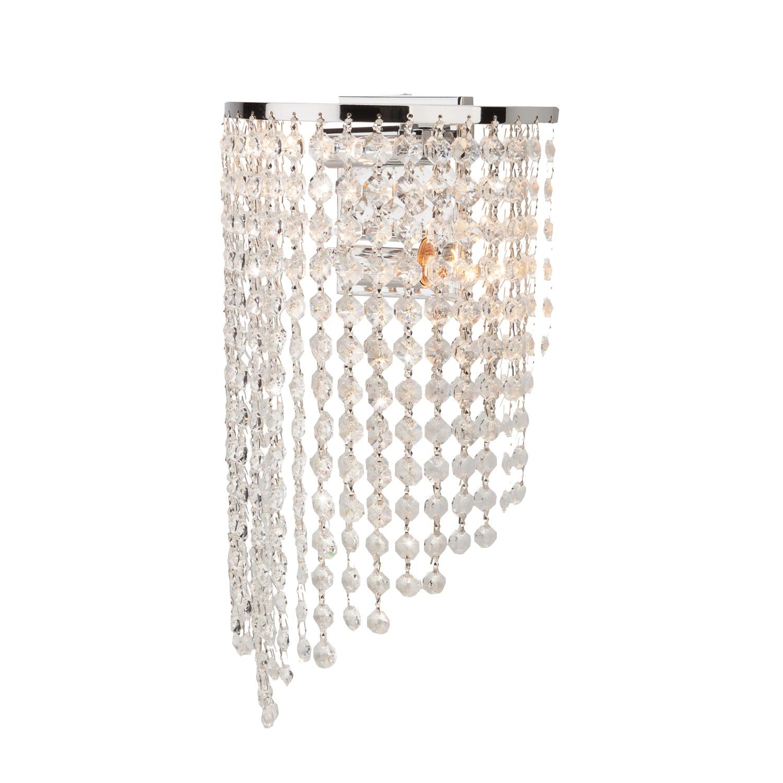 Настенный светильник EUROSVET 3102/2 хром / прозрачный хрусталь, E27, 60 Вт