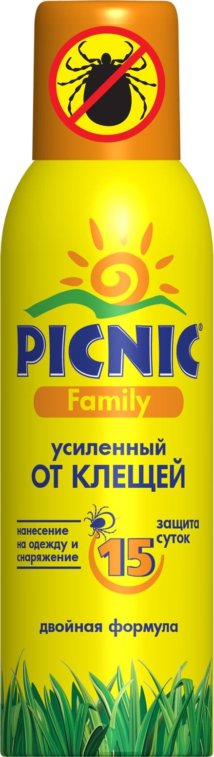 Аэрозоль от клещей Picnic Family, усиленный, 125 мл средство акарицидное защита от клещей super picnic 125 мл
