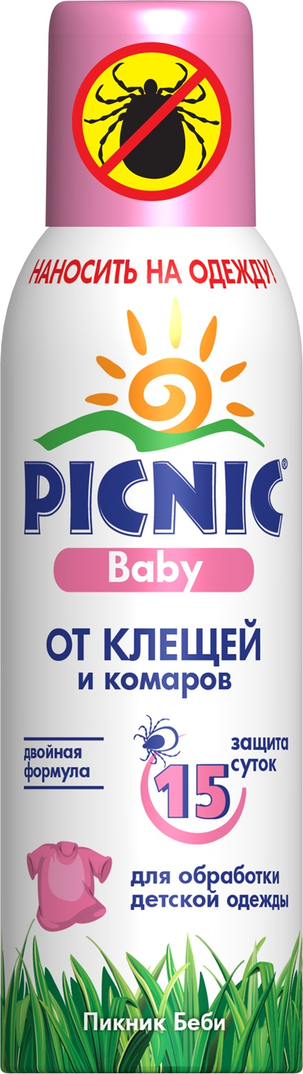 Средство от насекомых Picnic Baby, 125 мл, от клещей и комаров средство акарицидное защита от клещей super picnic 125 мл