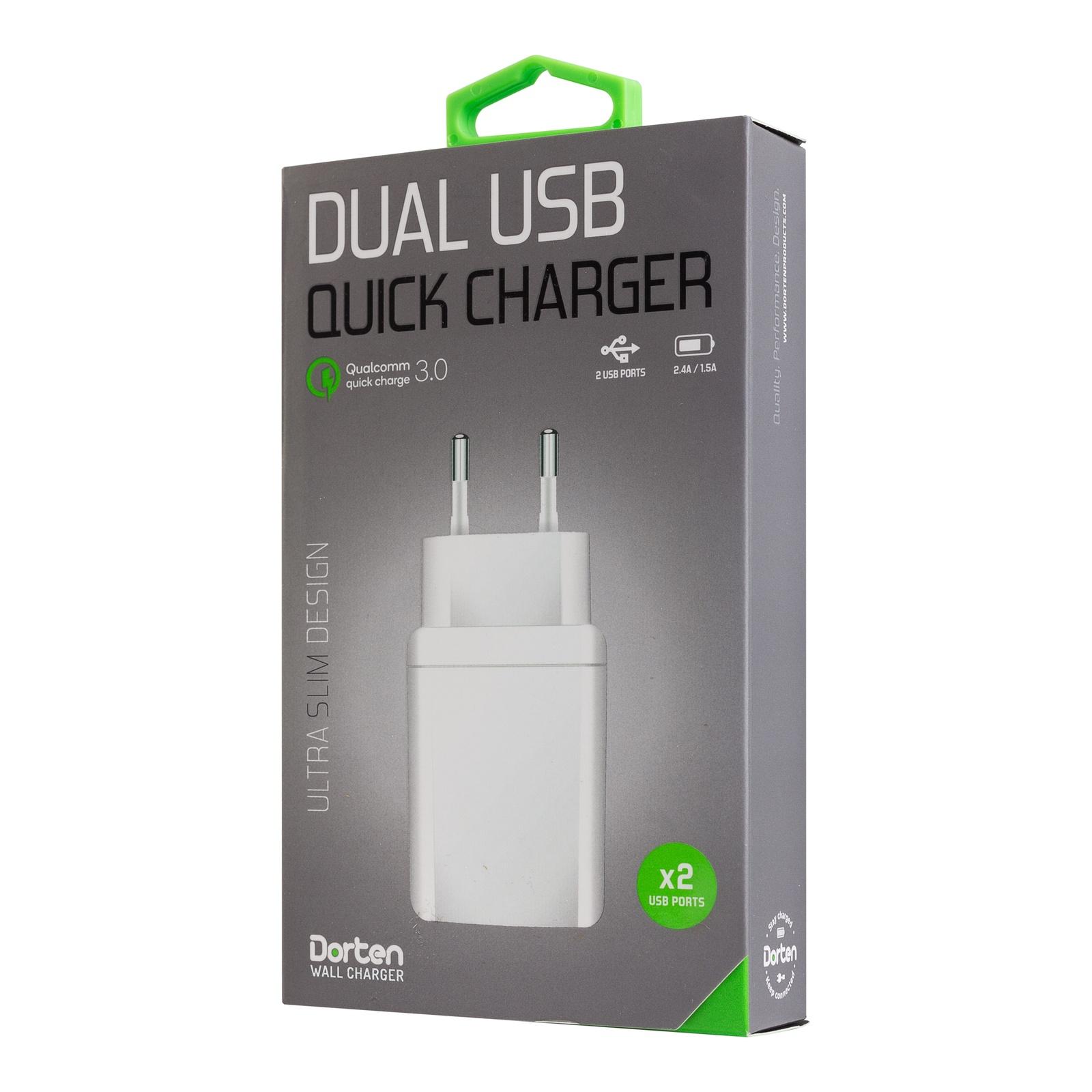 Зарядное устройство DORTEN USB Quick Charger QC 3.0, белый сотовый телефон senseit t100 black