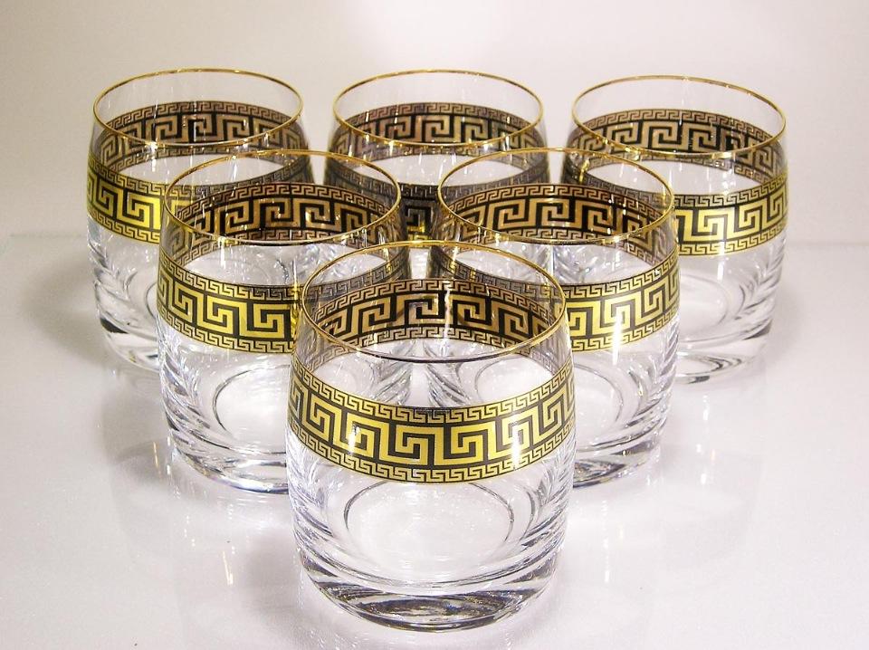 Набор стаканов для виски 290мл , 6шт, дизайн - золото/ Версаче набор стаканов клаб 6шт 300мл виски оптика стекло