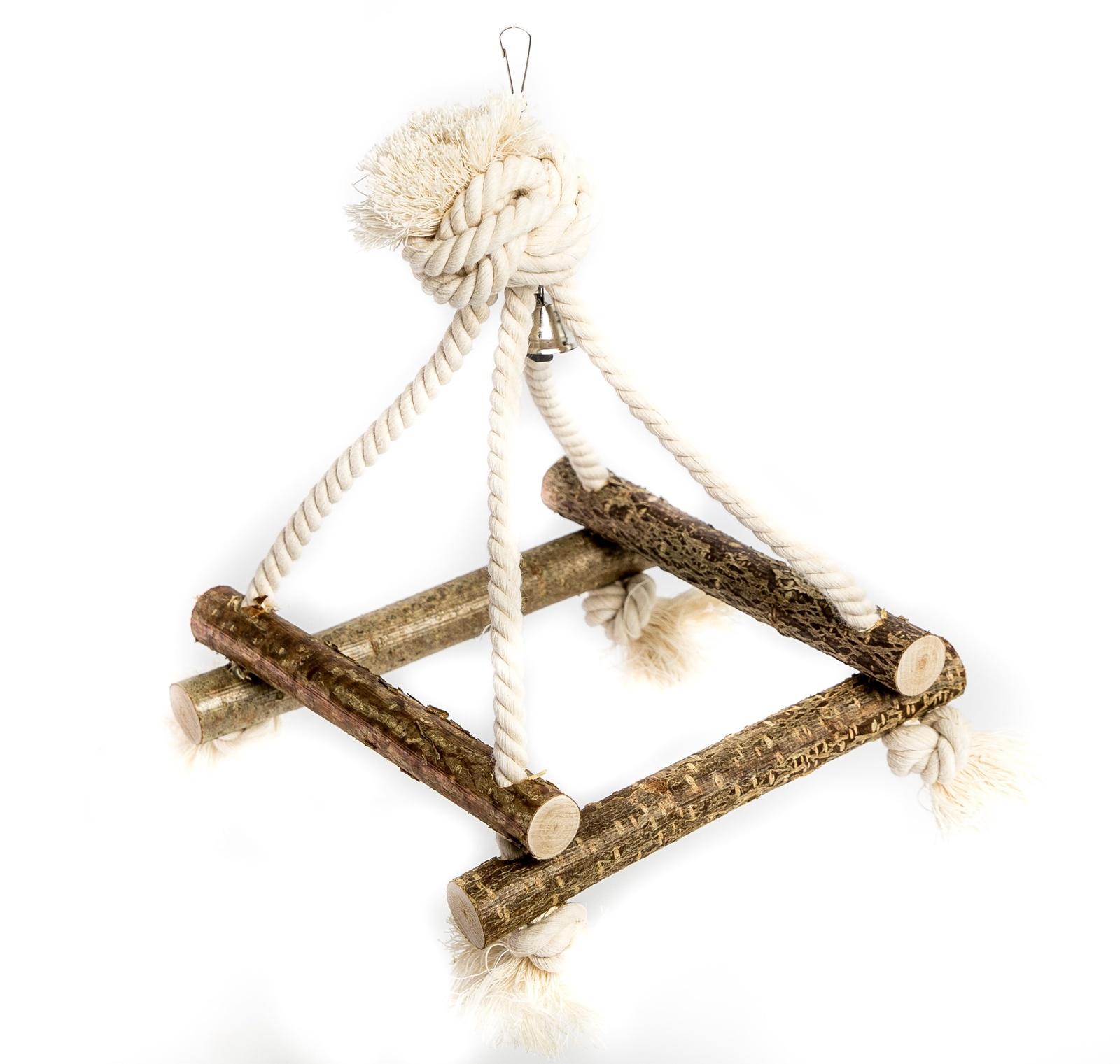 Канатные качели для птиц 4D с колоколом zoobaloo игрушка для птиц кольцо сизаль с колокольчиком 15см
