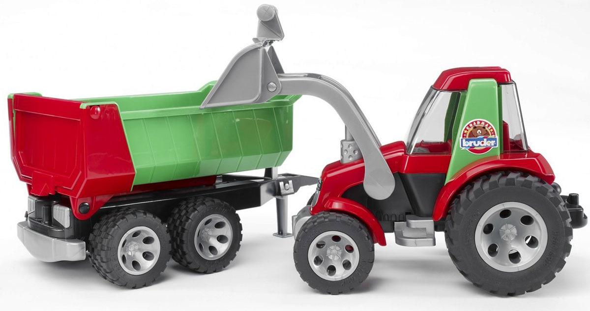 Трактор Bruder Roadmax, 20-116, с ковшом и прицепом машины bruder прицеп самосвал