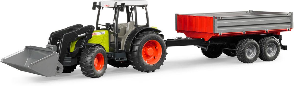 Трактор Bruder Claas Nectis 267 F, 02-112, с погрузчиком и прицепом цена