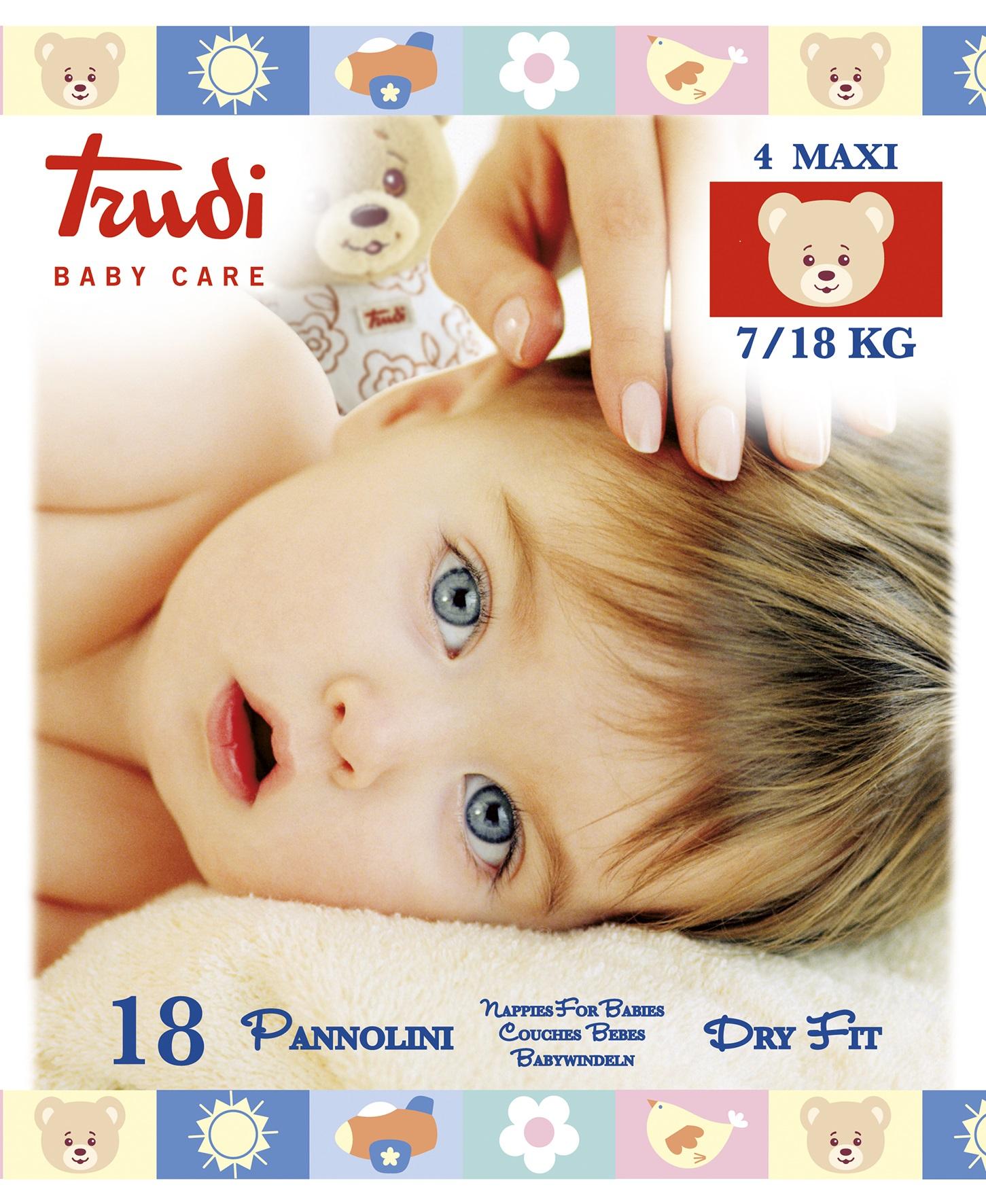 Подгузники Trudi размер Maxi 7-18 кг; 18 шт.Произведено в Италии. подгузники лента baby nappy maxi 4 8 18 кг