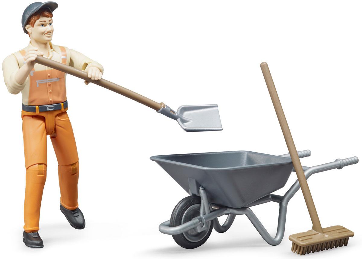 Фигурка Bruder Работник коммунальной службы, 62-130 набор знаков дорожных работ bruder с фигуркой рабочего 62 000