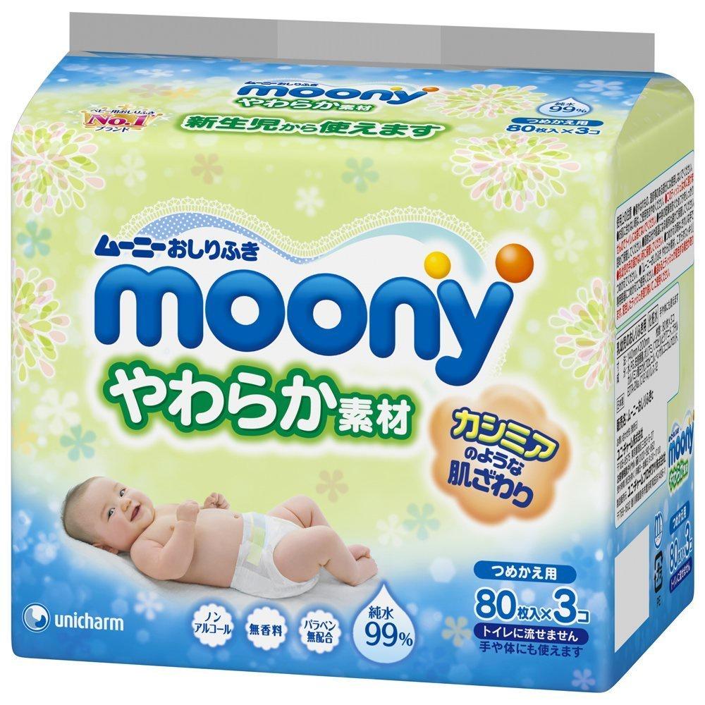 Влажные салфетки Moony (Муни) для детей, мягкие, запасной блок, 80*3 шт. влажные салфетки vestar алоэ вера освежающие 15 шт