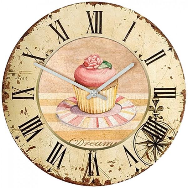 Настенные часы Kitchen Interiors 30011093001109Механизм: Кварцевый; Корпус: Дерево; Размер: Диаметр 30 см;Рисунок: Пирожное