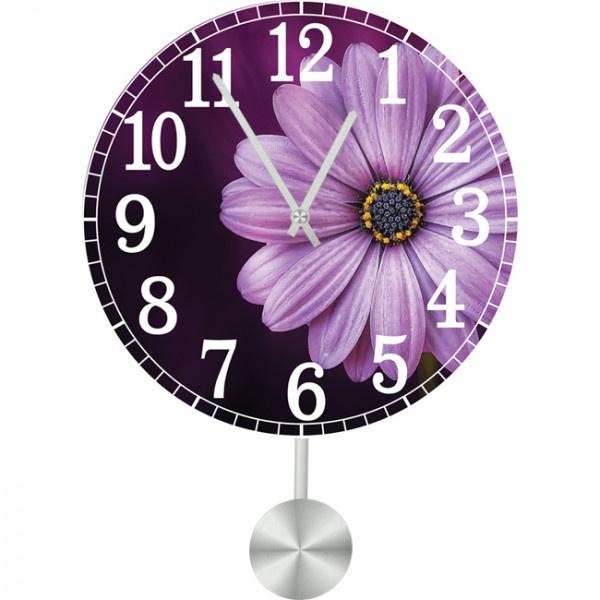 Настенные часы Kitchen Interiors 35113033511303Настенные часы с маятником для кухни. Механизм: Кварцевый; Корпус: Дерево; Размер: Диаметр 35 см;Рисунок: Фиолетовый цветок