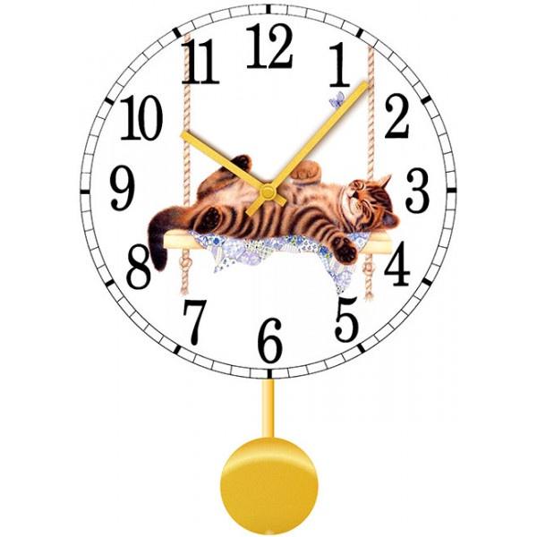 Настенные часы Kitch Clock 40110574011057Настенные часы для гостиной с маятником. Механизм: Кварцевый; Корпус: Дерево; Размер: Диаметр 40 см;Рисунок: Кот на качели