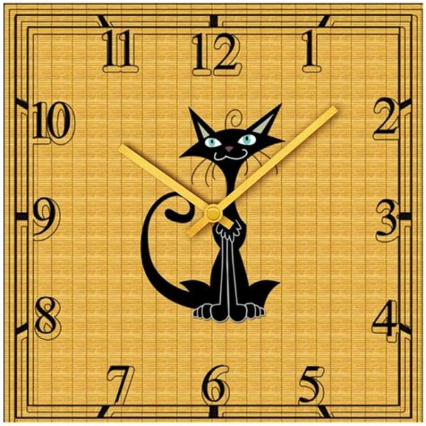 Настенные часы Kitch Clock 40010754001075Настенные часы для гостиной. Механизм: Кварцевый; Корпус: Дерево; Размер: Диаметр 40 см;Рисунок: Черный кот
