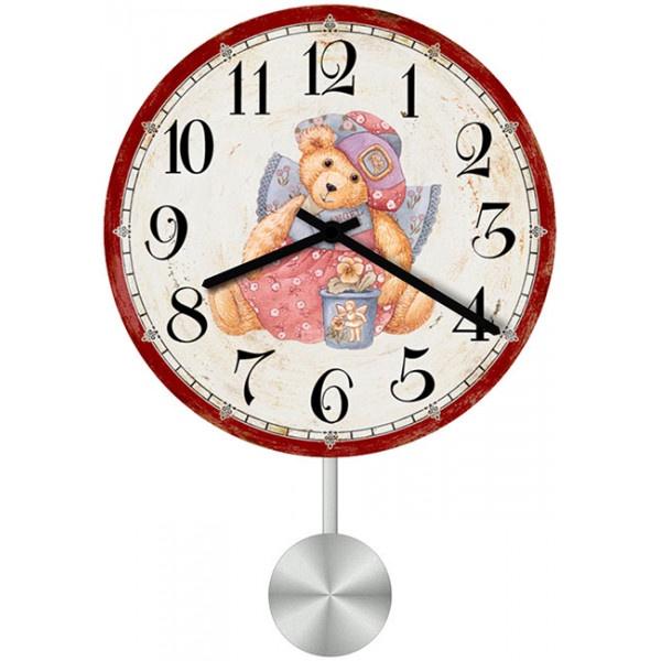 Настенные часы Kids Dream 30110833011083Настенные часы для гостиной с маятником. Механизм: Кварцевый; Корпус: Дерево; Размер: Диаметр 30 см;Рисунок: Мишка