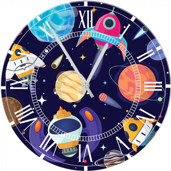 Настенные часы Kids Dream 40012044001204Механизм: Кварцевый; Корпус: Дерево; Размер: Диаметр 40 см;Рисунок: Космос по-детски