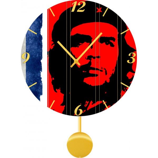 Настенные часы Kitch Clock 30116063011606Механизм: Кварцевый; Корпус: Дерево; Размер: Диаметр 30 см ; Коллекция: Persons; Рисунок: Че Геварра на флаге