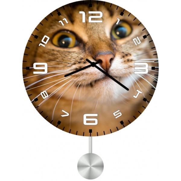 Настенные часы Kitch Clock 30116073011607Механизм: Кварцевый; Корпус: Дерево; Размер: Диаметр 30 см ; Коллекция: Pets; Рисунок: Котэ