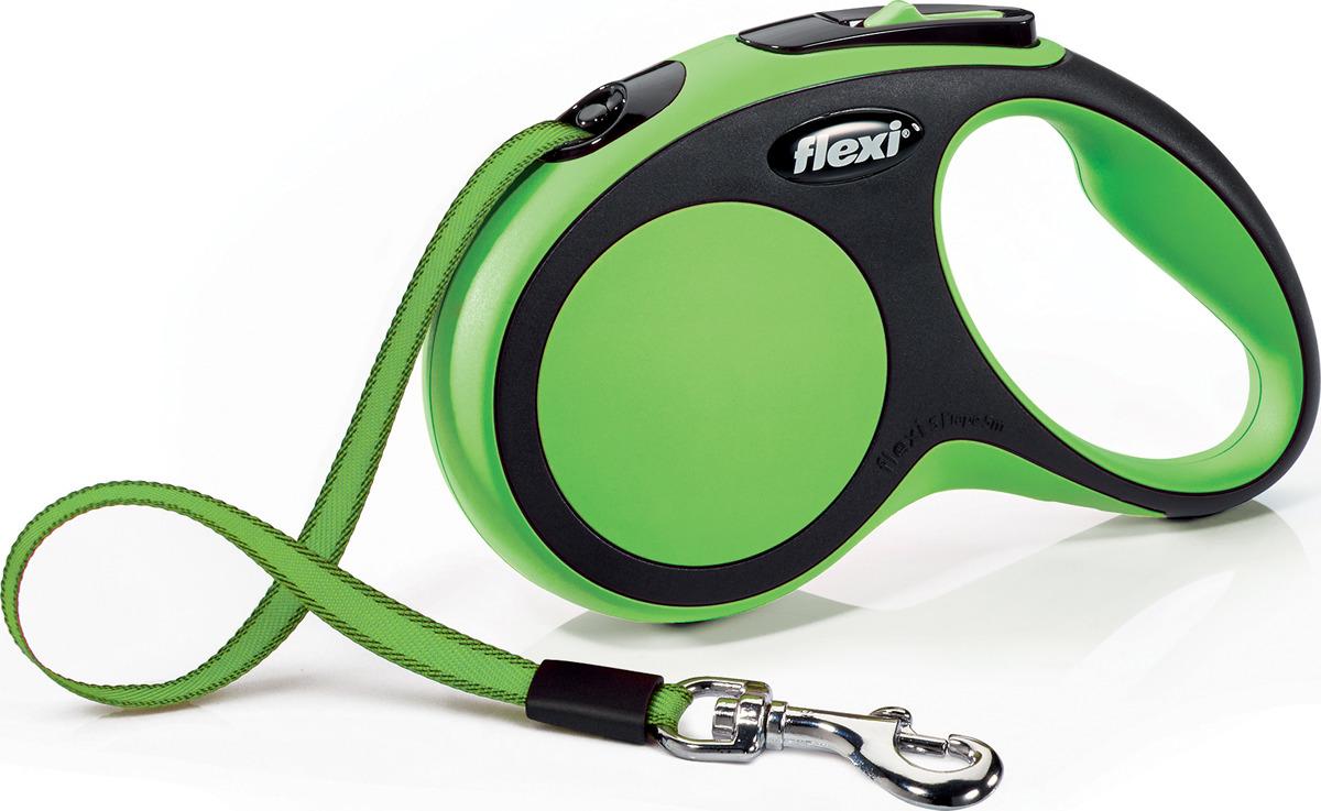 """Поводок-рулетка Flexi """"New Comfort S"""", лента, для собак весом до 15 кг, цвет: черный, зеленый, 5 м"""