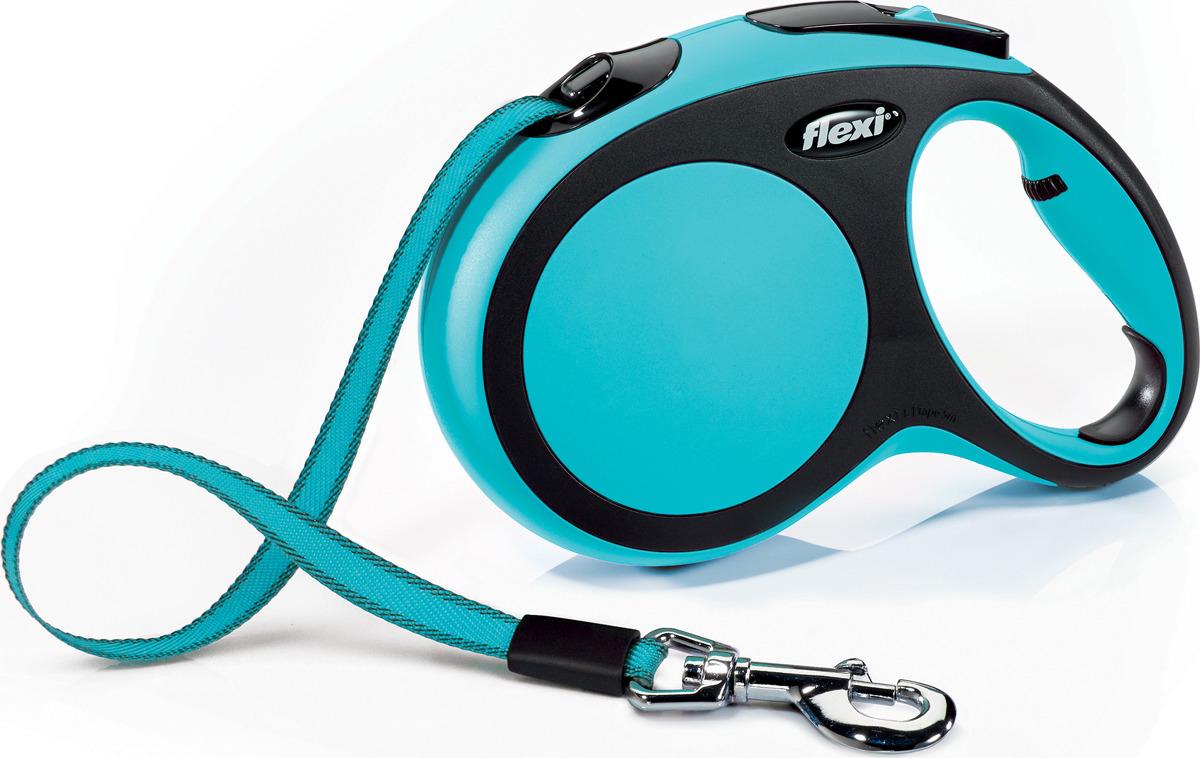 """Поводок-рулетка Flexi """"New Comfort"""", лента, цвет: черный, голубой, 60 кг, 5 м. Размер L"""