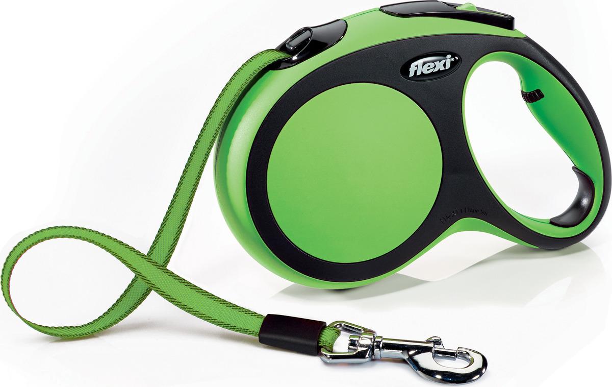 """Поводок-рулетка Flexi """"New Comfort L"""", лента, для собак весом до 60 кг, цвет: черный, зеленый, 5 м"""