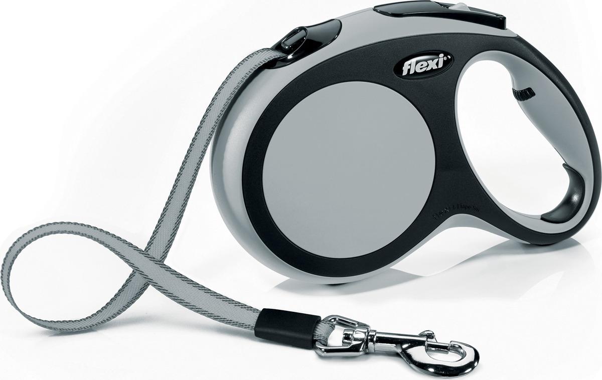 """Поводок-рулетка для собак Flexi """"New Comfort L"""", цвет: черный, серый, длина 5 м"""