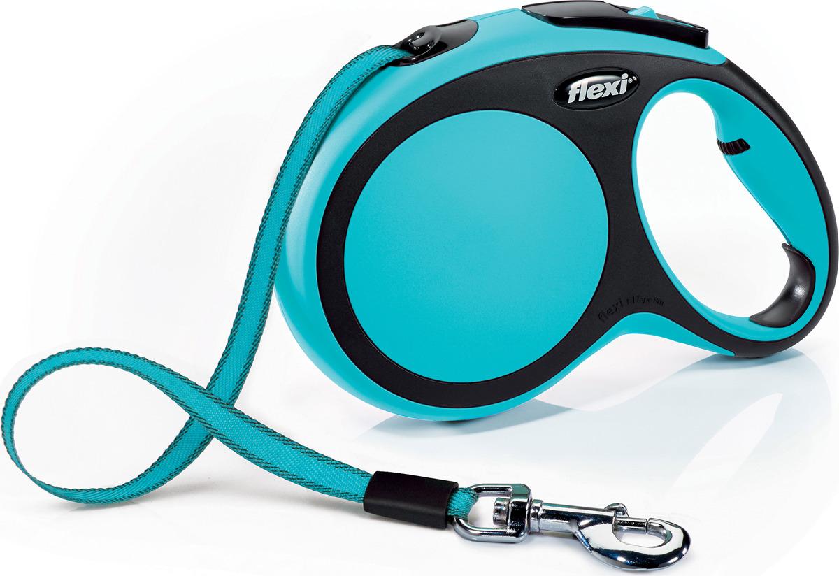 """Поводок-рулетка Flexi """"New Comfort"""", лента, цвет: черный, голубой, 50 кг, 8 м. Размер L"""