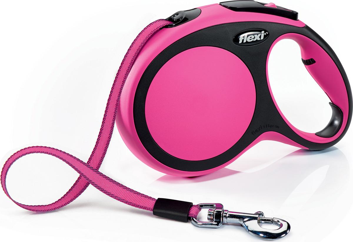 """Поводок-рулетка Flexi """"New Comfort L"""", лента, для собак весом до 50 кг, цвет: черный, розовый, 8 м"""